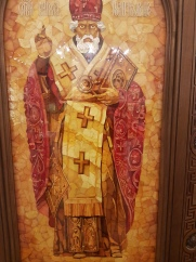 An amber-decorated icon.