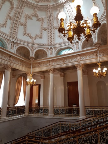The upper balcony of the Shuvalov Palace leads to the gallery displays.