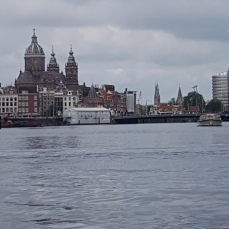 Nice views of the Amstel River bank from the canal boat.
