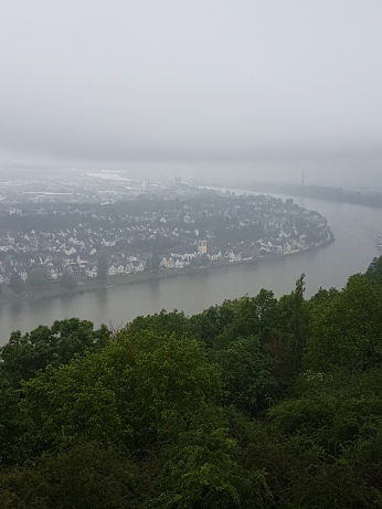 A view of the Rhine from the fortress on a rainy day.