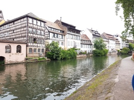 Palatial buildings border Strasbourg's lovely canals.