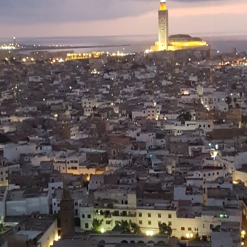 The view of the city and the Hassan II mosque from my room at the Sofitel Casablanca.