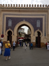 The blue tiles on gate to the medina in Fes indicate welcome.
