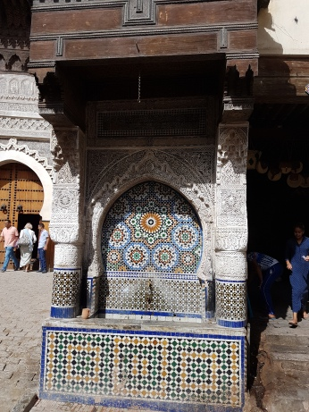 The ancient Nejjarine Fountain, famous for its tile work.