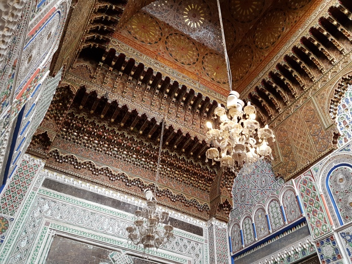 The ceiling of the tomb of Moulay Idriss in the medina of Fes.