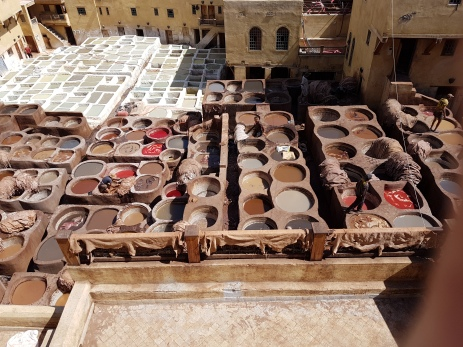 The vats of the tannery with numerous colors for leather work.