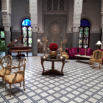 The lobby of the beautiful Riad Fes.