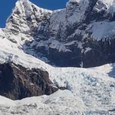A zoom shot of the Serrano glacier on Mount Balmacena.