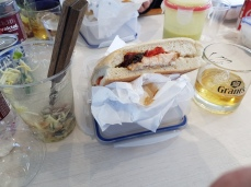 Our box lunch sandwich and iceberg-chilled scotch.