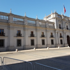 The Moneda, the presidential palace.