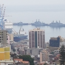 A view of Valparaiso harbor, seat of the Chilean navy,.