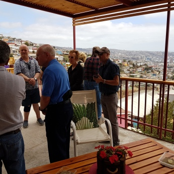 The group loved the view of the bay from the family's terrace.